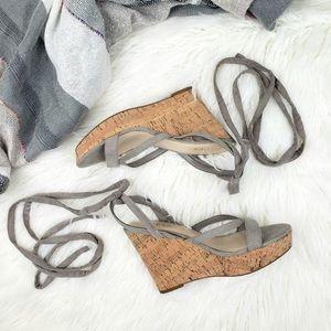 Guess Platform Wedge Lace Up Sandal Faux Suede